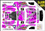 PINK Sharks Teeth themed vinyl SKIN Kit To Fit Traxxas Slash 4x4 Short Course Truck